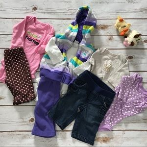 Baby Girl Bundle Shirts Pants Vest 0-3 Months